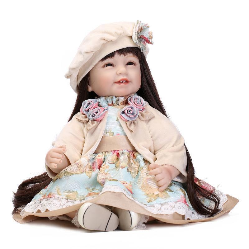トドラー人形 プリンセスドール リボーンドール 抱き人形 高級ハンドメイド海外ドール かわいい幼児ちゃん人形 衣装付き ダークロングヘア 素敵なお帽子 女の子 花柄ワンピースお嬢様
