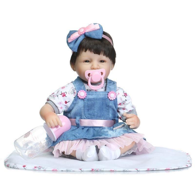 リボーンドール リアル赤ちゃん人形 小さめ40cm かわいいベビー人形 ハンドメイド海外ドール 衣装とおしゃぶり・哺乳瓶付き 満面の笑顔 ダークヘア ショートカットの乳児ちゃん