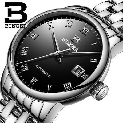 BINGER 高級レディース腕時計 自動巻き 機械式腕時計 防水サファイアガラス ステンレス ファッション ビジネスウォッチ