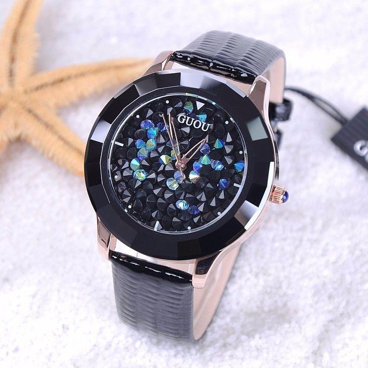 レディースウォッチ 海外人気ブランド GUOU キラキラ腕時計 カラフル クリスタル ラインストーン ジュエリーウォッチ リストウォッチ ブレスウォッチ レザー 革バンド おしゃれ 大人気