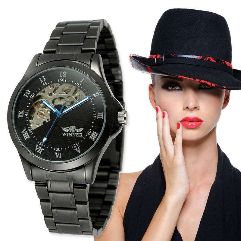 T-WINNER レディース腕時計 機械式 自動巻き スケルトン ブラック スポーツウォッチ 日本未発売