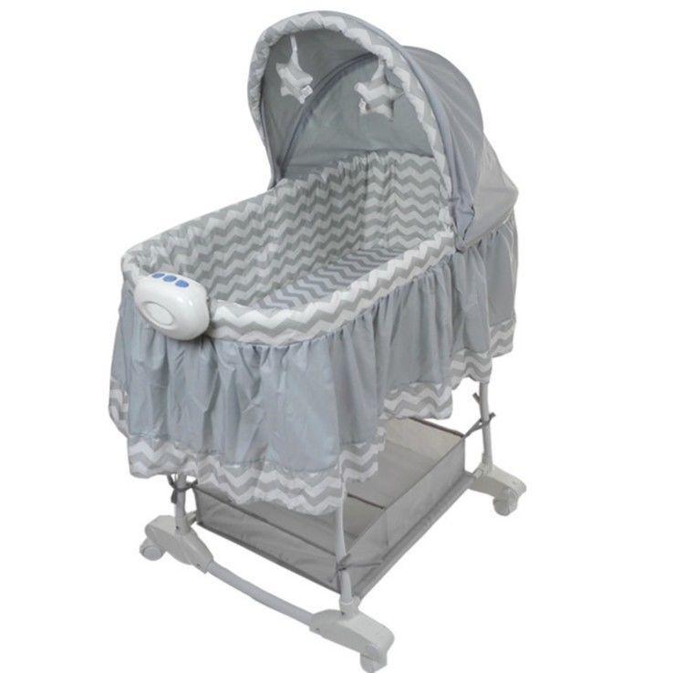 かわいいベビーベッド  クーファン クーハン ゆりかご バスケット ロマンチック 白 グレー 音楽機能付き  / リボーンドール お人形のベッドに