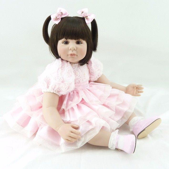 トドラー人形 プリンセスドール リボーンドール 抱き人形 高級ハンドメイド海外ドール かわいい幼児ちゃん人形 衣装付き 二つ結び ダークヘア まあるいお目目の優しそうな女の子 ピンクドレスのお嬢様