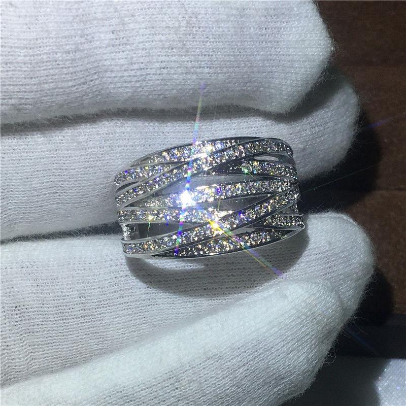CZダイヤモンドリング 多重ハーフエタニティ ボリュームパヴェリング キュービックジルコニア指輪 シルバー 高級 キラキラ プレゼントにも 10号/12号/14号/16号/18号