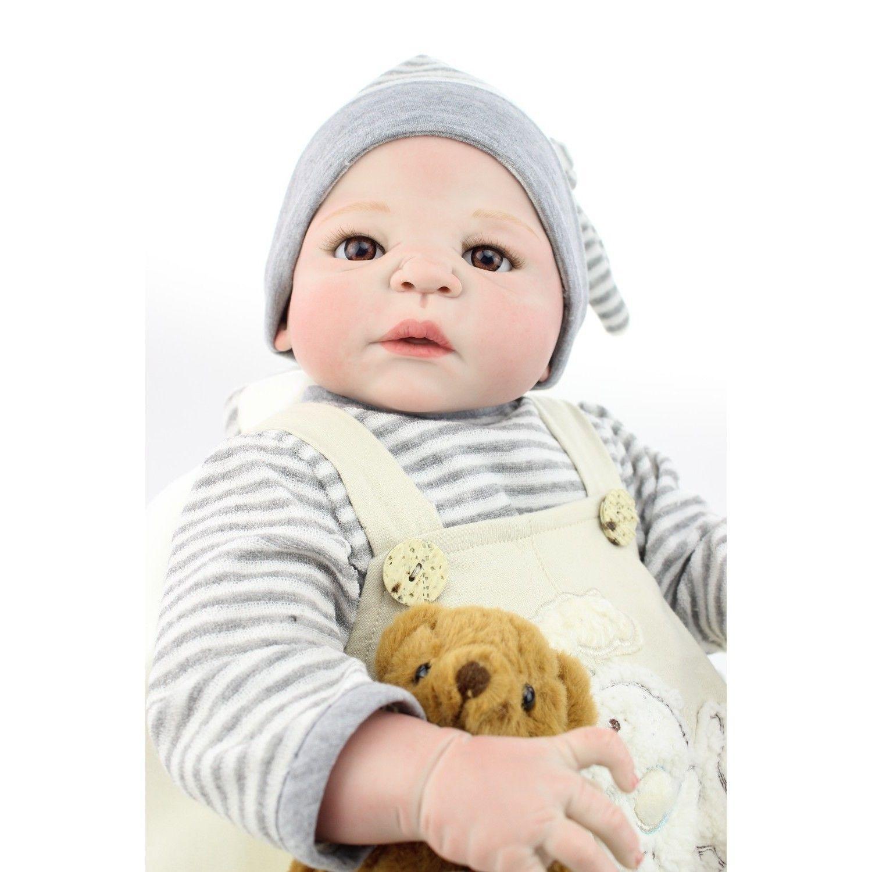 リボーンドール リアル赤ちゃん人形 フルシリコンビニール 男の子 入浴可能 かわいいベビー人形お世話セット ハンドメイド しましまベビー服の赤ちゃん