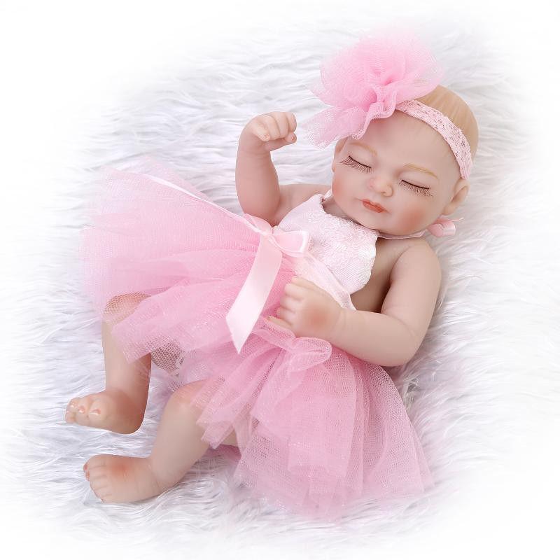 リボーンドール フルシリコンビニール リアル赤ちゃん人形 ミニサイズ25cm 入浴可能 かわいいベビー人形 未熟児サイズ 天使の寝顔 ピンクのドレス クローズアイ