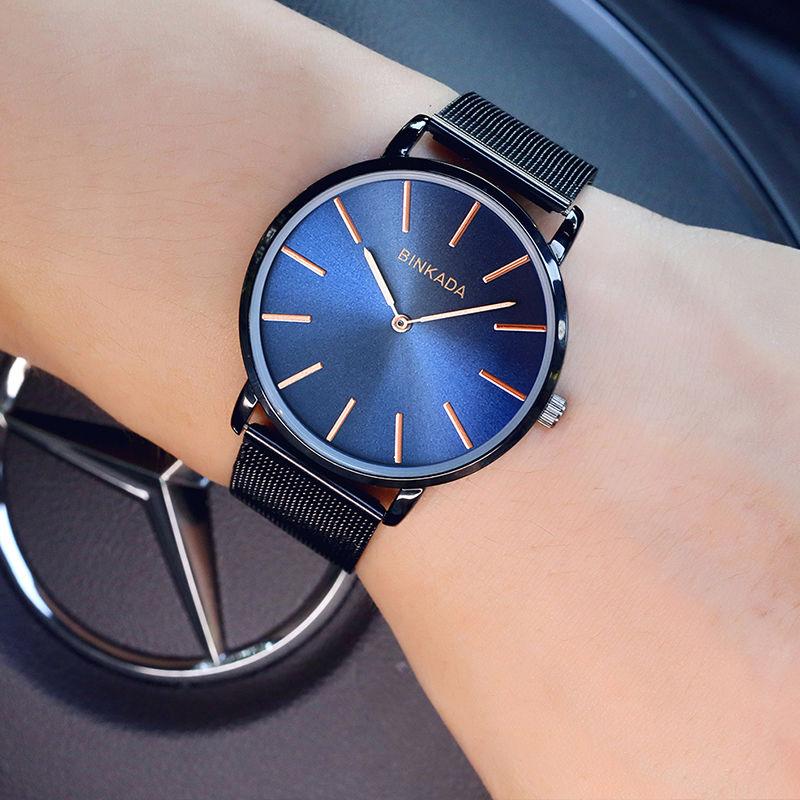 メンズ腕時計 BINKADA正規品 海外高級ブランド 男性用リストウォッチ クォーツ腕時計極薄ウルトラシンタイプ 2針ビジネスウォッチ ファッションウォッチ 防水