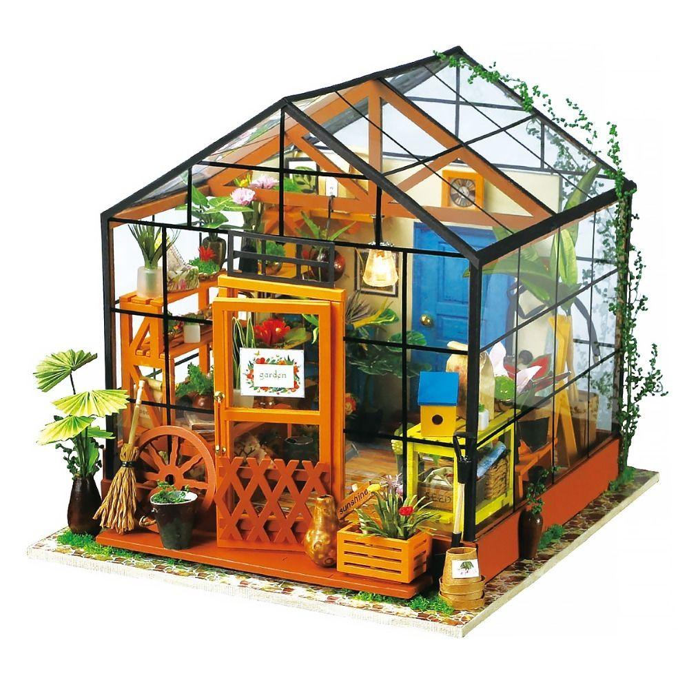 ドールハウス 1/12 ハンドメイド木製ミニチュアハウス家具セット DIY 3Dパズル 知育玩具 温室 植物園 Cathy's Flower House