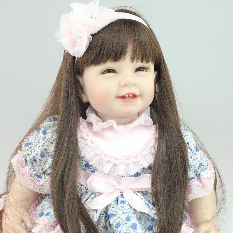 リボーンドール プリンセスドール トドラードール 抱き人形 赤ちゃん人形 ベビードール 女の子 お嬢様 お姫様 ハンドメイド リアル 高級 服 衣装付き かわいい ロングヘア 笑顔 ブルーの花柄ドレス