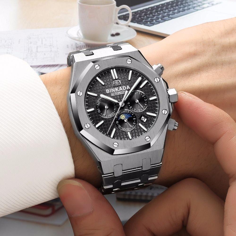 メンズ腕時計 BINKADA正規品 海外高級ブランド 人気最新モデル機械式腕時計 クロノグラフ コンプリートカレンダー機能 サファイアガラス 防水 自動巻き