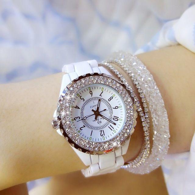 レディースウォッチ 海外人気ブランド BEE SISTER J12風 セラミック ラインストーンベゼル腕時計 クリスタル パヴェ ジュエリーウォッチ  ブレスウォッチ  大人気 ブレスレットつき
