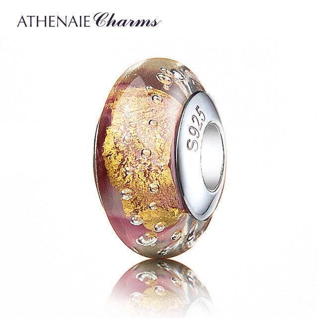 ATHENAIE パンドラ適合 ビーズチャーム シルバー925 ムラーノガラス Murano 925Silver Charm Bead Fit Pandora ピンク 金箔