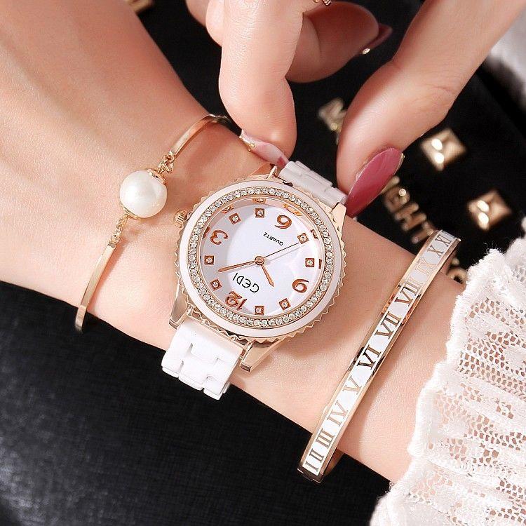 レディースウォッチ 海外人気ブランド GEDI J12風 セラミック ラインストーンベゼル腕時計 クリスタル パヴェ ジュエリーウォッチ  ブレスウォッチ おしゃれ 大人気 ブレスレットつき