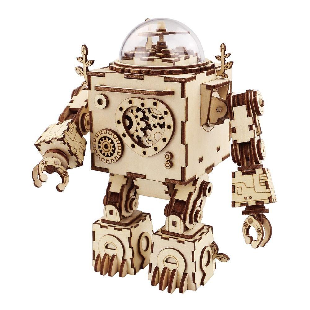 ロボット 3Dパズル DIY フィギュア 組み立ておもちゃ 木製 プラモデル風 オルゴールつき  スチームパンクロボ