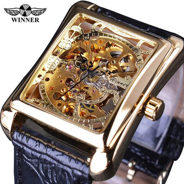 T-WINNER 高級メンズ腕時計 手巻き式 機械式 スケルトン レクタングル文字盤  レトロクラシック ヨーロッパ人気モデル 日本未発売