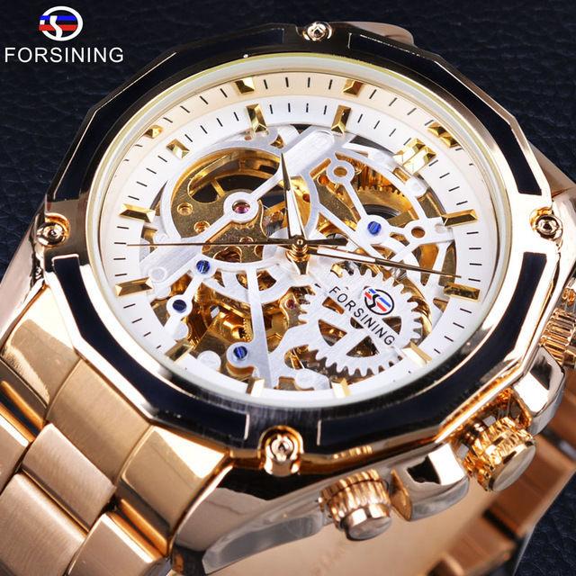Forsining 自動巻き 機械式腕時計 スケルトン メカニカル スチームパンク ステンレス 日本未発売 海外人気モデル