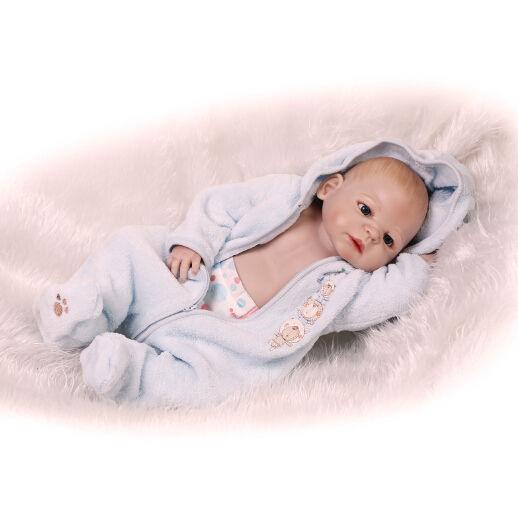 リボーンドール リアル赤ちゃん人形 フルシリコンビニール かわいいベビー人形お世話セット 入浴可能 男の子 ぱっちりお目目 元気な赤ちゃん