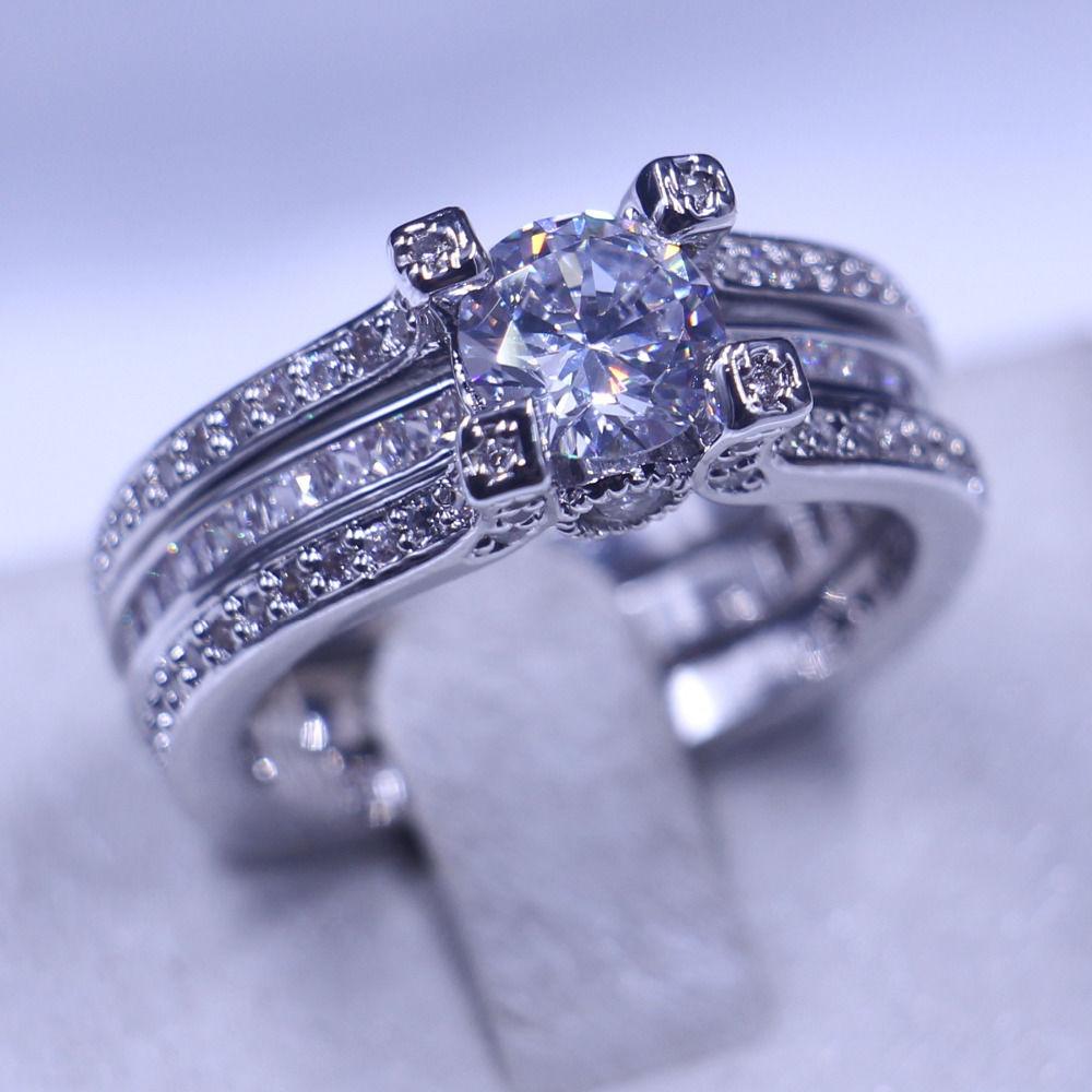 レディース CZダイヤモンドリング2本セット ゴージャスなファッションリング キュービックジルコニア指輪セット Silver925 キラキラ プレゼントにも 10号/12号/14号/16号/18号