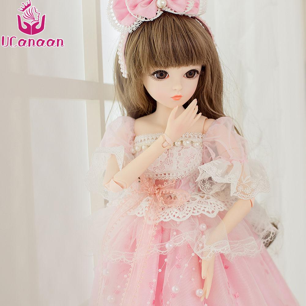 球体関節人形 BJD 衣装付き お姫様 お嬢様 ドレス 女の子 プリンセスドール 60cm かわいい フランス人形/西洋人形/SD 新品 ピンク リボン