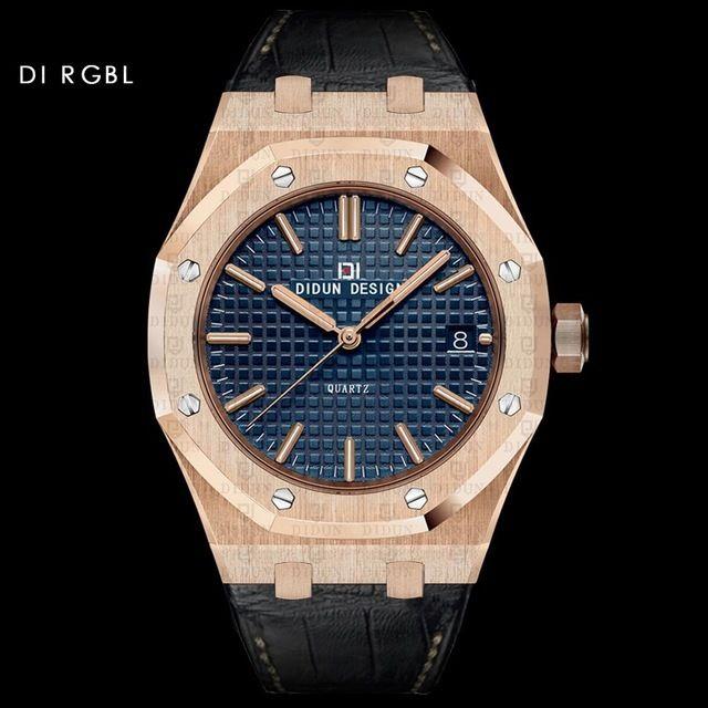 DIDUN DESIGN 正規品 メンズ腕時計 クォーツ腕時計 革バンド レザーバンド 海外人気ブランド 日本未発売 男性用リストウォッチ アナログ3針日本製ムーブメント 防水 サファイアガラス RG