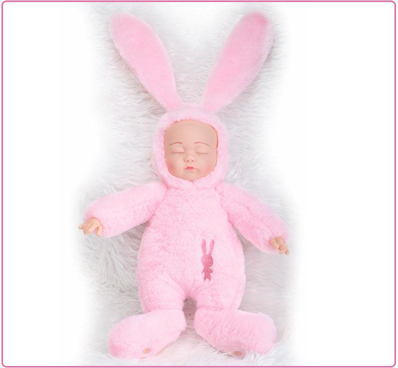 ウサギスーツ型 赤ちゃん人形 ぬいぐるみ ベビー人形 ベビードール 抱き人形 リボーンドール 寝顔 すやすや かわいい 娘 プレゼント ピンク