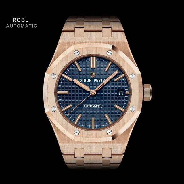 DIDUN DESIGN 正規品 メンズ腕時計 機械式腕時計 海外人気ブランド 日本未発売 男性用 リストウォッチ ステンレスバンド アナログ3針日本製ムーブメント 防水 サファイアガラス  RG