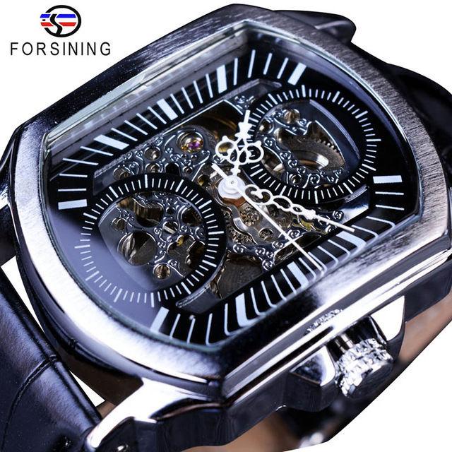 Forsining メンズ腕時計 自動巻き 機械式腕時計 レトロクラシック  スケルトン レザーストラップ ラグジュアリー ビジネスウォッチ