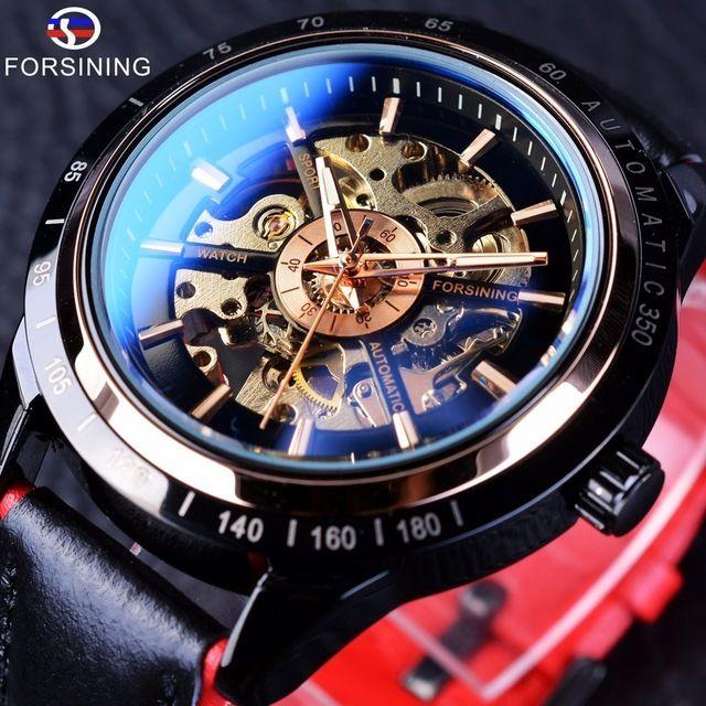 Forsining メンズ腕時計 自動巻き 機械式腕時計 レーシングシリーズ スケルトン レザーストラップ 黒×赤 スポーツウォッチ