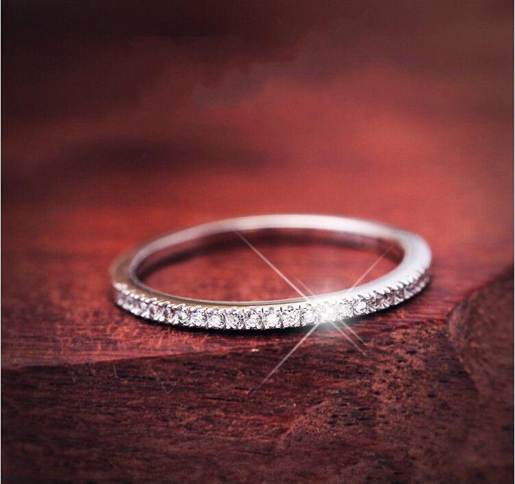 繊細ハーフエタニティリング 重ね付け シルバー CZダイヤモンドリング キュービックジルコニア 指輪 Silver925 高級 キラキラ プレゼントにも 8号/9号/10号/12号/14号/16号