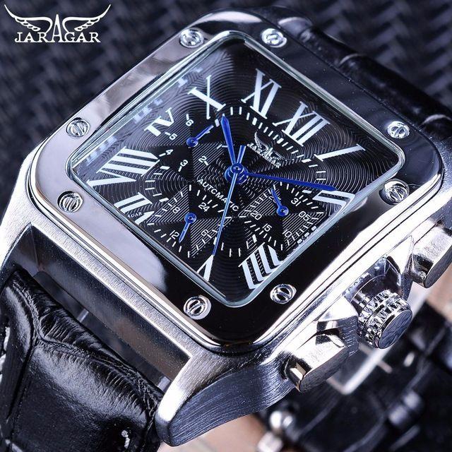 JARAGAR メンズ腕時計 自動巻き 機械式腕時計 スクエア レザーストラップ ラグジュアリーウォッチ ブラック
