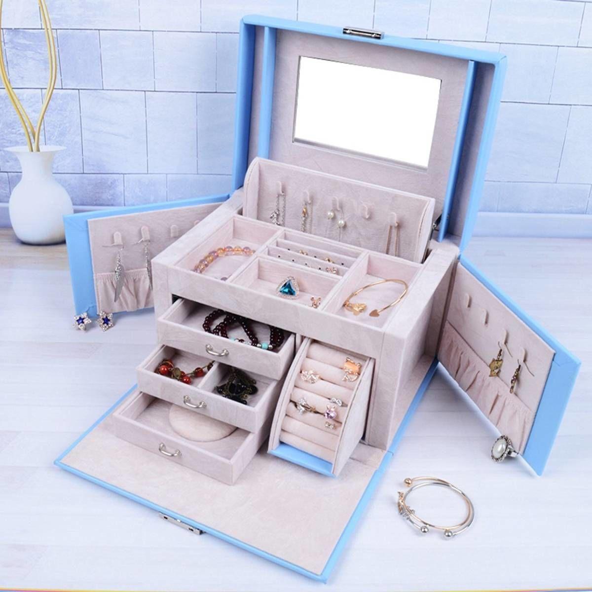 高級 水色 ライトブルー ジュエリーボックス アクセサリーケース ジュエリーボックス 大容量 鏡付き ネックレス収納 上品フェミニン