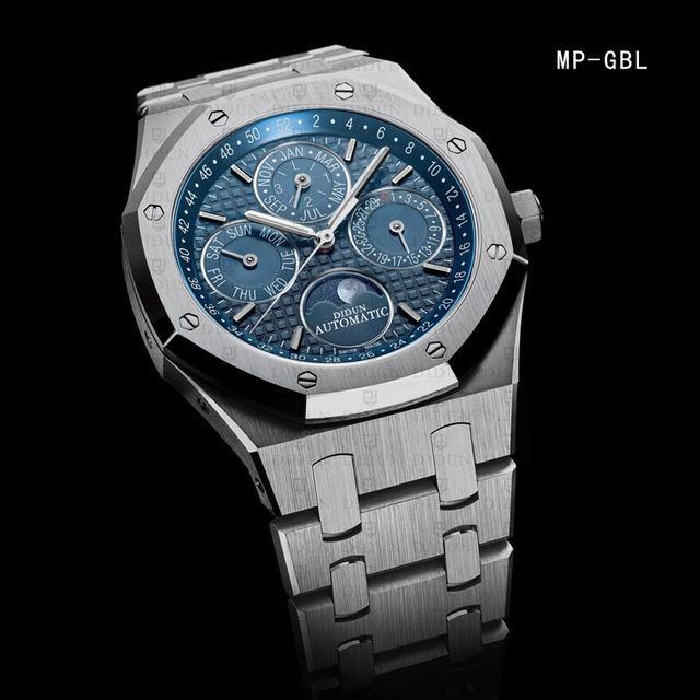 DIDUN DESIGN メンズ腕時計 男性用  機械式腕時計 海外人気ブランド 日本未発売モデル 日本製ムーブメント 防水 サファイアガラス ムーンフェイズ カレンダー ビジネスウォッチ