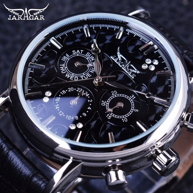 JARAGAR メンズ腕時計 自動巻き 機械式腕時計 クラシカル スケルトン レザーストラップ ラグジュアリーウォッチ