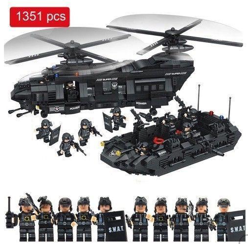 レゴ互換 SWAT ブロックおもちゃ 1351ピース ヘリコプター アメリカ特殊警察部隊