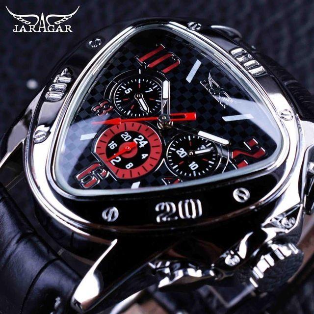 JARAGAR メンズ腕時計 自動巻き 機械式腕時計 トライアングルタイプ レザーストラップ スポーツウォッチ