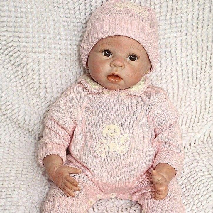 高級 新生児 帽子とベビー服の女の子♪ リボーンドール リアル赤ちゃん人形 ベビー人形 ベビードール ハンドメイド 海外ドール 22INCH