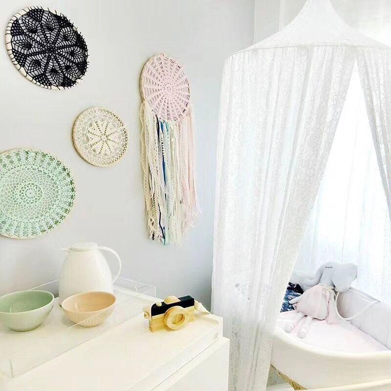 天蓋 キャノピー レースのモスキートネット 蚊帳 ミニカーテン キッズルームやベビーベッド のデコレーションに 夢の子供部屋 ロマンチック