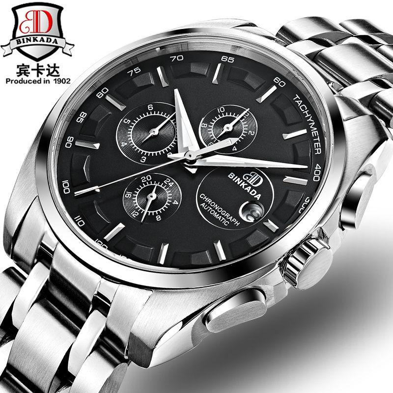 メンズ腕時計 人気 BINKADA正規品 海外高級ブランド 男性用リストウォッチ 機械式腕時計 自動巻き トゥールビヨン クロノグラフ スケルトン カレンダー 防水 サファイアガラス