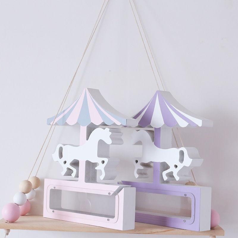 キッズルーム ユニコーンの貯金箱 プレゼント 北欧風 木のインテリア パステルカラー 夢の子供部屋 インスタ映え