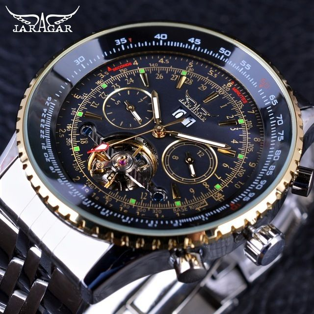 JARAGAR メンズ腕時計 自動巻き 機械式腕時計 クラシカル トゥールビヨン カレンダー ステンレス ラグジュアリーウォッチ