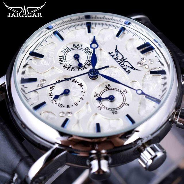 JARAGAR メンズ腕時計 自動巻き 機械式腕時計 クルーズシリーズ ブルーストーム レザーストラップ ラグジュアリーウォッチ