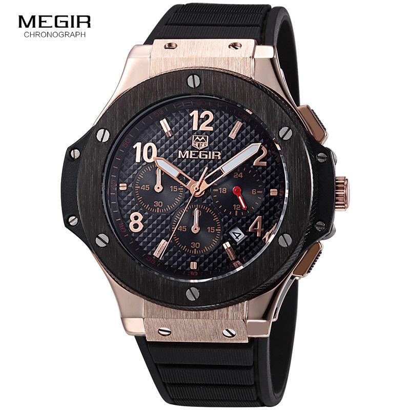 MEGIR  メンズ腕時計  ウブロ風 ビッグバンタイプセラミック調ベゼル ラバーバンド クォーツ クロノグラフ