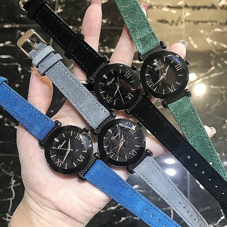 レディースウォッチ 海外人気ブランド DIMINI 星空のようなキラキラ腕時計 カラフル本革スウェードベルト クリスタル ラインストーン ジュエリーウォッチ ブレスウォッチ レザーバンド  大人気