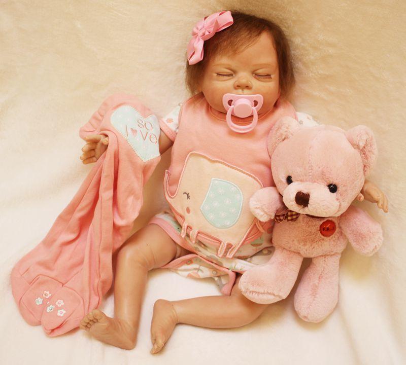 リボーンドール リアル赤ちゃん人形 本物そっくり かわいいベビー人形 ハンドメイド海外ドール 衣装付き クローズアイ すやすや おねんね中 女の子 ぬいぐるみ付き 本物みたいな乳児ちゃん