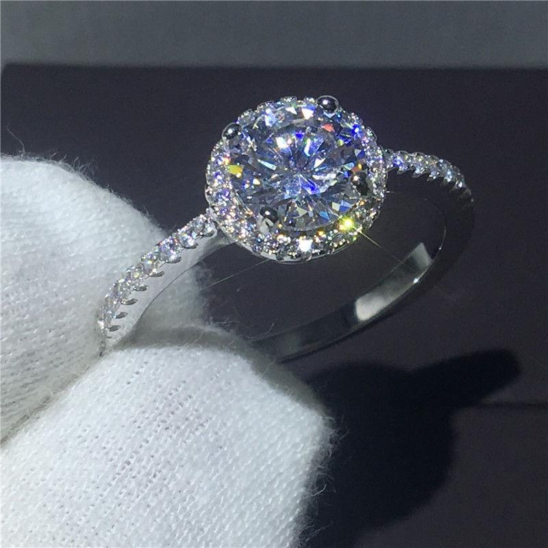 レディース シンプル 大粒ラウンドカットCZダイヤ取り巻きエンゲージリング 高級ジルコニア指輪 Silver925 シルバー キラキラ プレゼントにも 10号/12号/14号/16号/18号