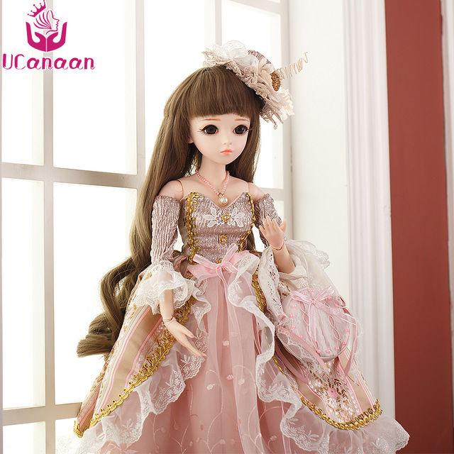 球体関節人形 BJD 完成品 本体ウィッグ衣装付き お姫様 お嬢様 女の子 ブルネット プリンセスドール 60cm 上品 気品 西洋人形/SD ピンク 新品 かわいい