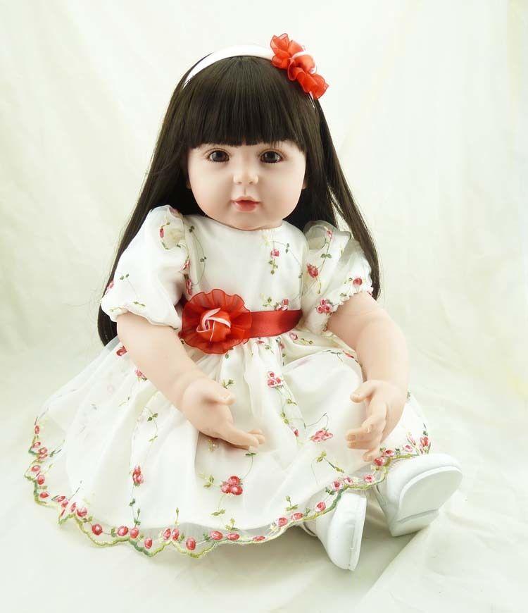 リボーンドール トドラー人形 新作 美しい黒髪ロングヘア 上品 かわいい女の子 リアル赤ちゃん人形 抱き人形 綿&シリコンビニール 気品 白