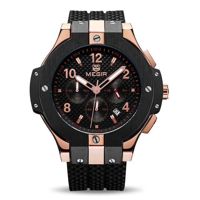 MEGIR メンズ腕時計 ビッグバンタイプセラミック調ベゼル ラバーバンド クォーツ クロノグラフ /  ウブロ風 HUBLOT風 ビッグバン