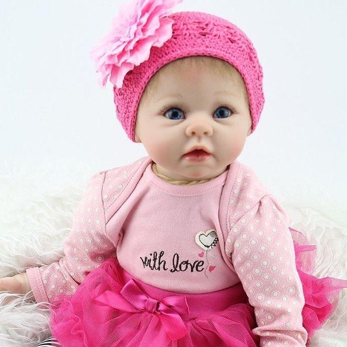 リボーンドール リアル赤ちゃん人形 本物そっくり かわいいベビー人形 ハンドメイド海外ドール 衣装付き ブルーアイ ぱっちりお目目 かわいいチュールスカートの女の子