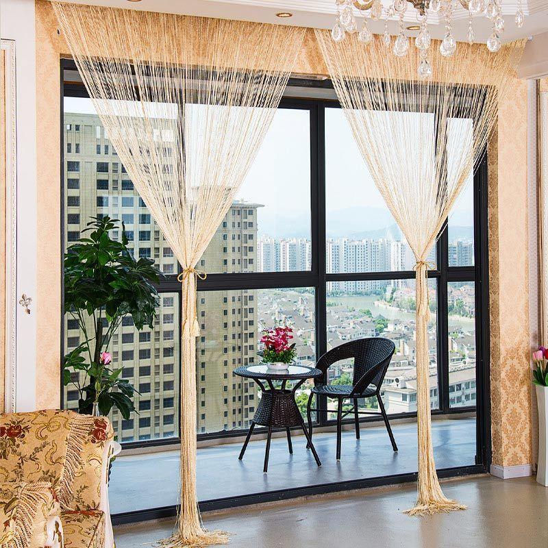ラグジュアリー シャイニータッセル ストリングカーテン 290cm×290cm ホテル 美容室 レストラン 姫系インテリア